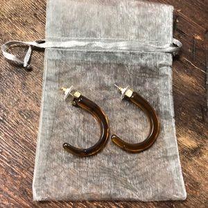 Boutique Brown Acrylic J-Hook Earrings